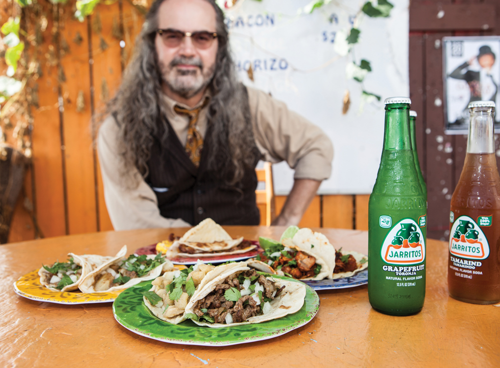Mike Sutter and tacos from Tacos Guerrero's