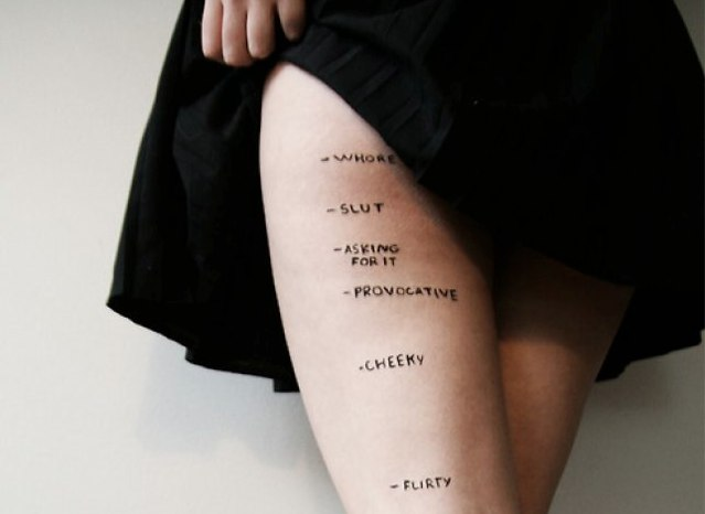 example of slut shaming image of girl lifting skirt. her thigh is marked at different points to connote that her skirt length makes her: flirty, cheeky, provocative, asking for it, slut, whore.