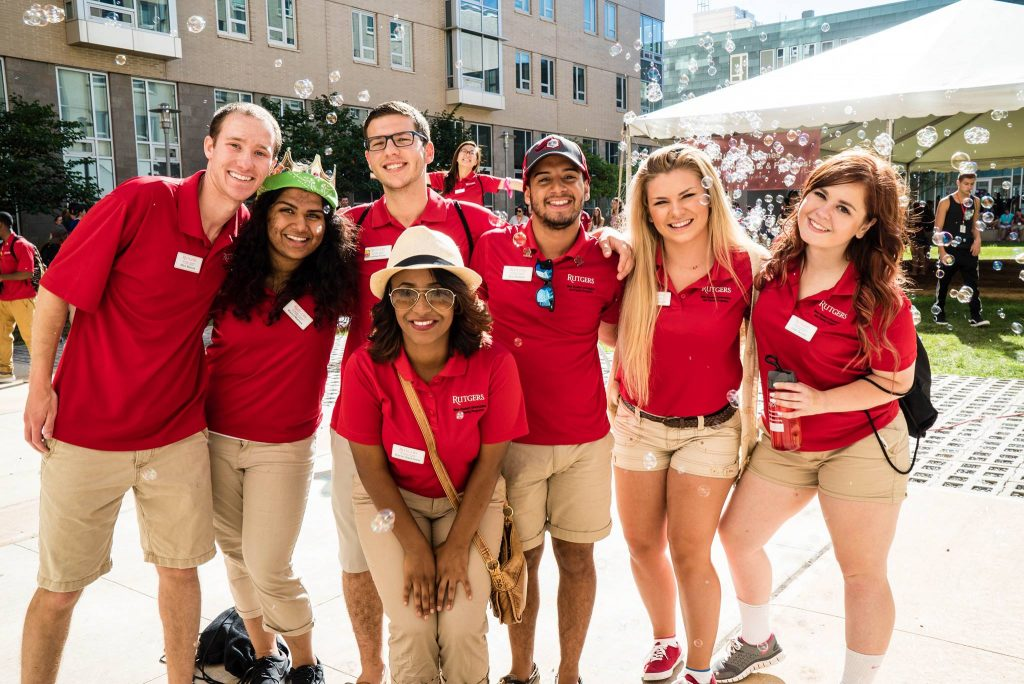 These are excited Orientation Leaders ready to help freshman students.
