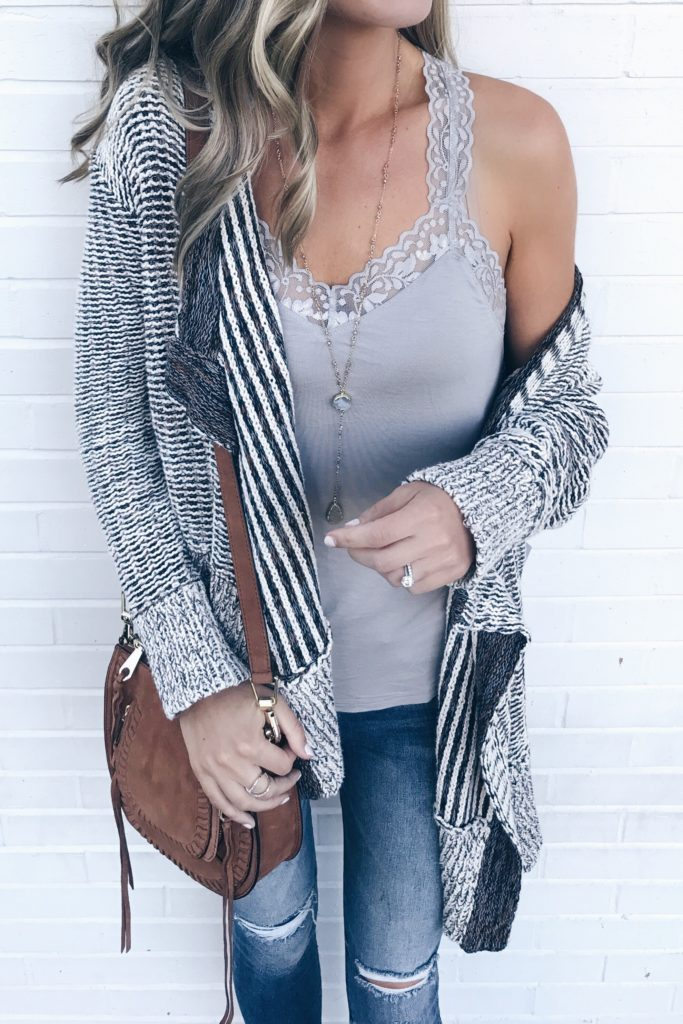 3f536e0cf8 fall-transition-outfits-gray-lace-trim-camisole-with-shelf-bra-under-cotton- knit-drape-front-open-cardigan-on-pinterestingplans-1-683×1024