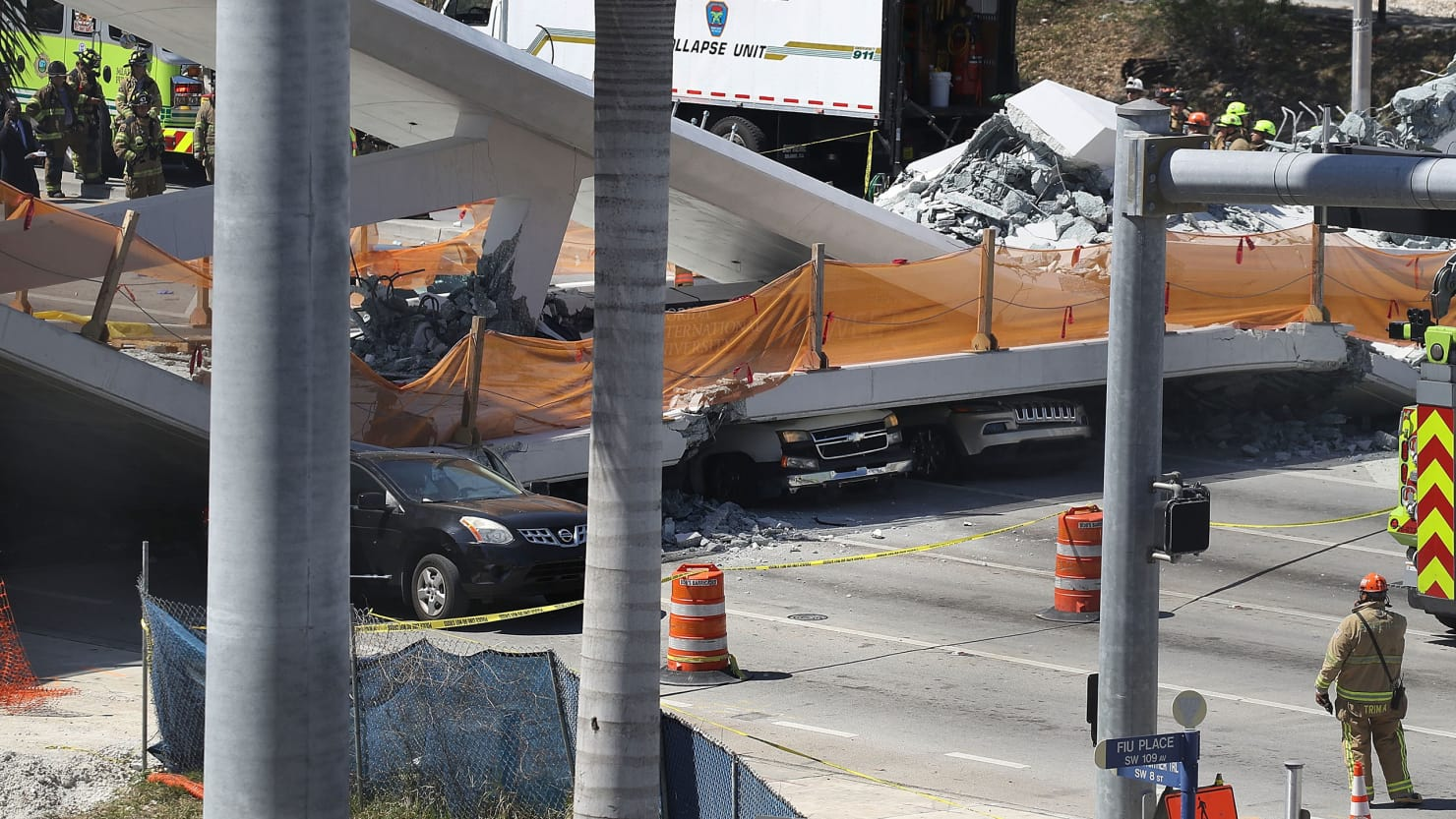 Florida university bridge collapses leaving 'several fatalities