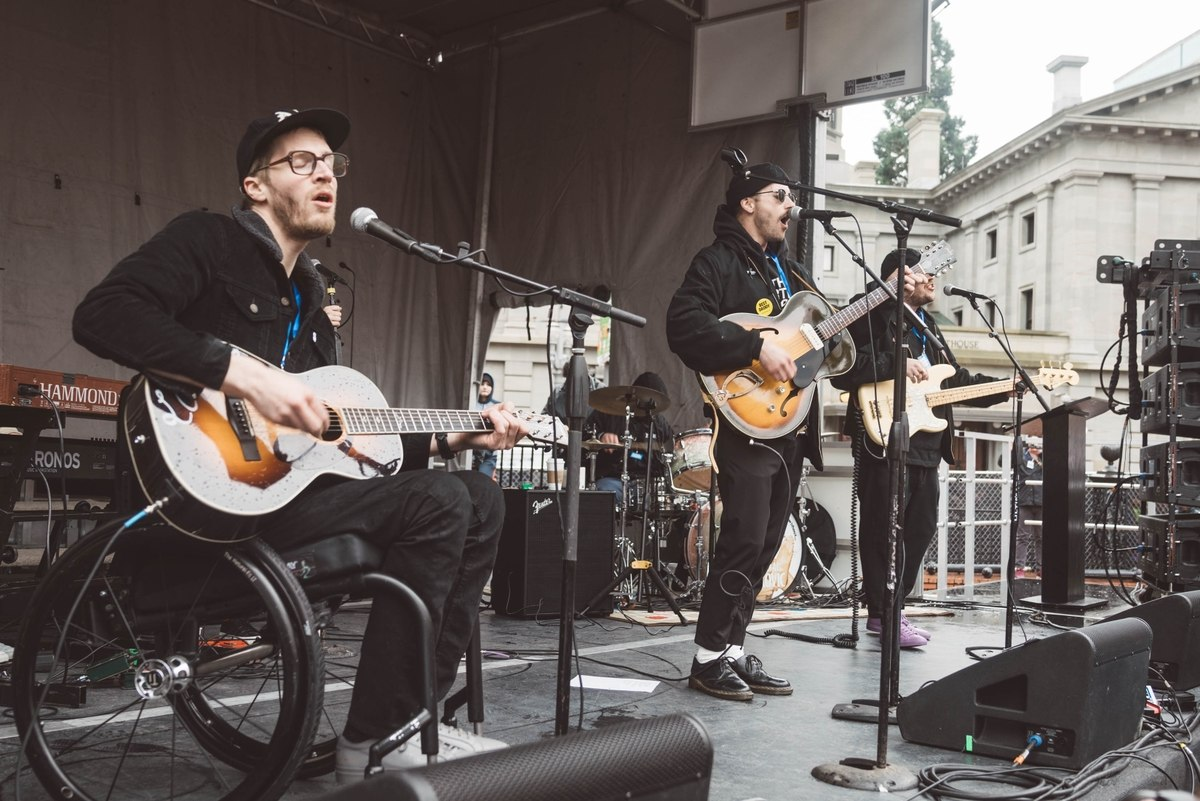 Portugal. The Man usually has advocates for different charities speak before they perform. (Image via Willamette Week)