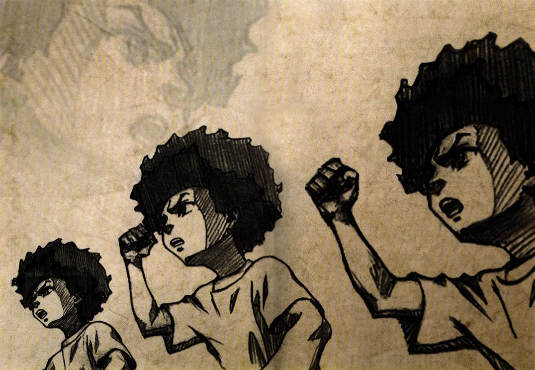 "The racially charged issues discussed in ""The Boondocks"" are still relevant today. (Image via Junkie Monkeys)"