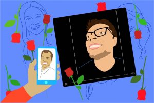 "To many, Daniel Miramontes' reaction videos have made ""The Bachelor"" worthwhile. (Illustration via Julianna Renk, University of California.)"