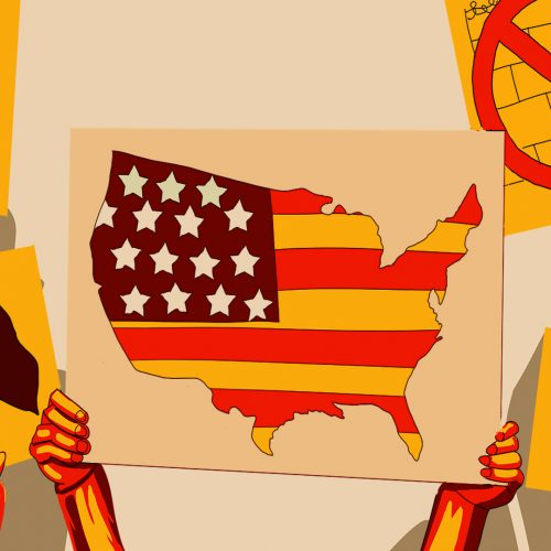 Illustration of immigration rights advocate holding up a sign of the continental United States colored in with the American flag, by Andrew Moghab