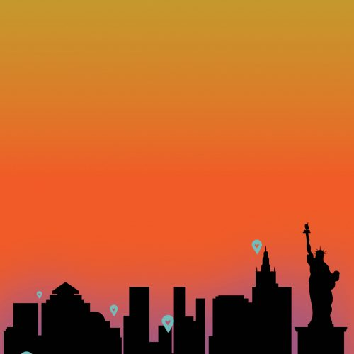 An illustration of New York City at sunset, by Natasha McDonald