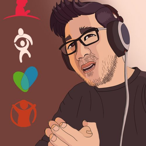 An illustration by Andrew Moghab of YouTuber markiplier