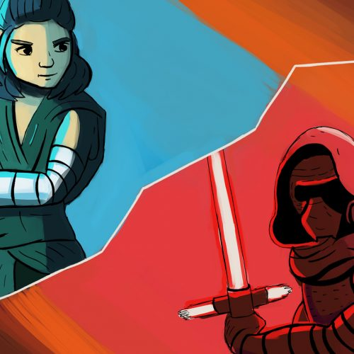 An illustration by Andrew Moghab of Kylo Ren and Rey from Star Wars having a lightsaber duel