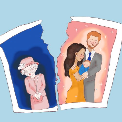 Illustration by Ashawna Linyard of a photo ripped in half, with the Queen of England on one side, and Prince Harry and Meghan Markle on the other.