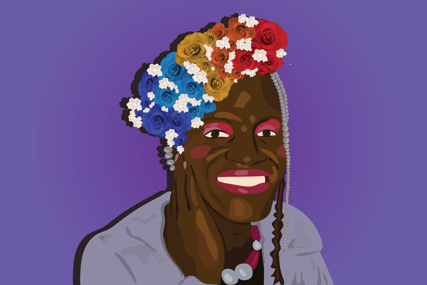 Illustration of Marsha P. Johnson, an important figure in black LGBT+ history