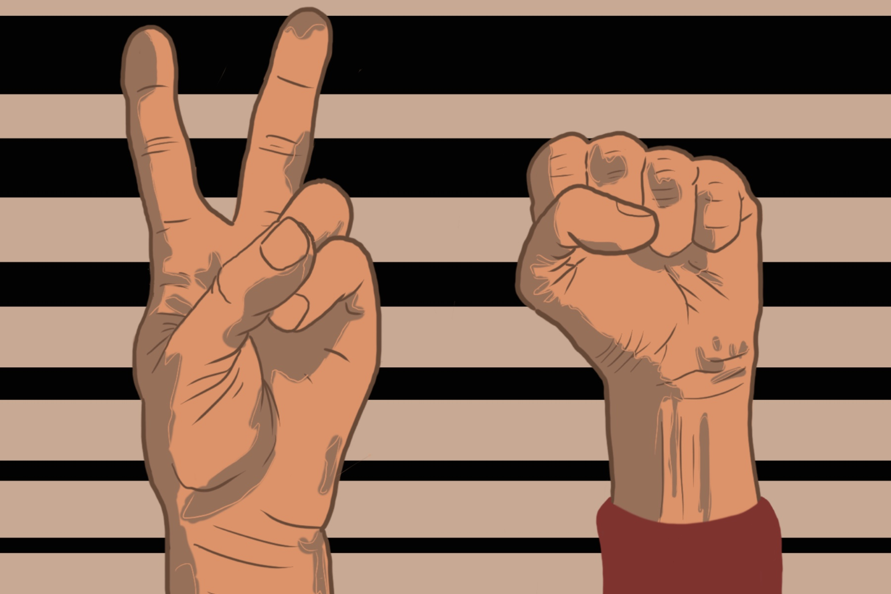 In an article about the show The Boondocks, an illustration of a raised fist and a hand doing a peace sign