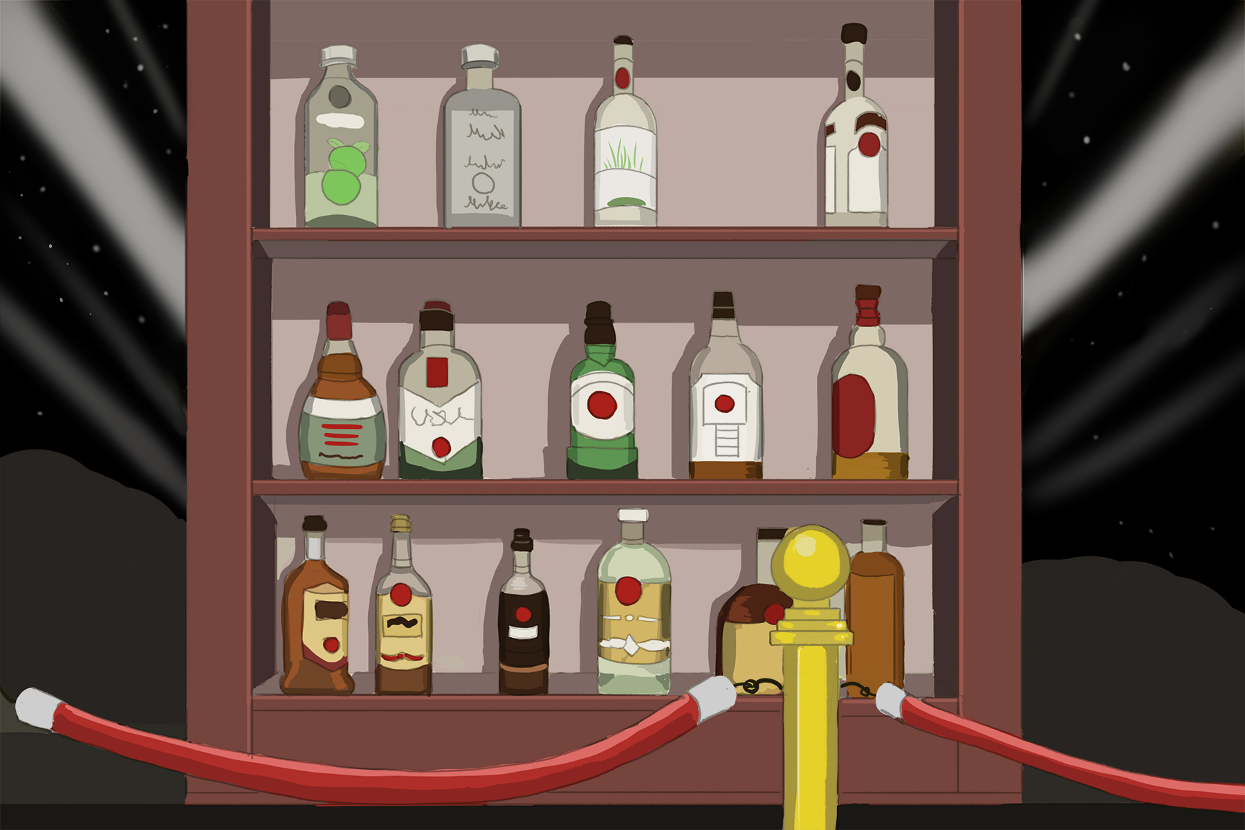 Illustration of bottles of alcohol on bar shelves