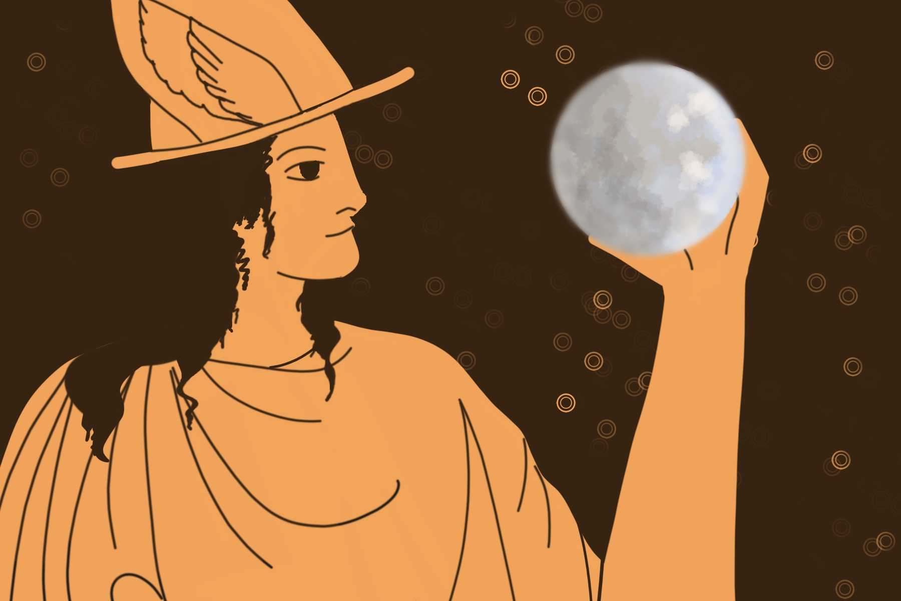 In an article about Mercury retrograde, an illustration of the Greek god Hermes holding up the planet Mercury