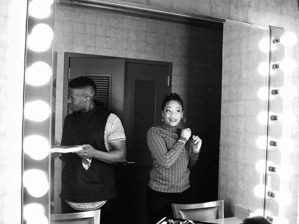 A behind the scenes photo from She Ready tour of Tiffany Haddish, seen here with fellow comedian Godfrey