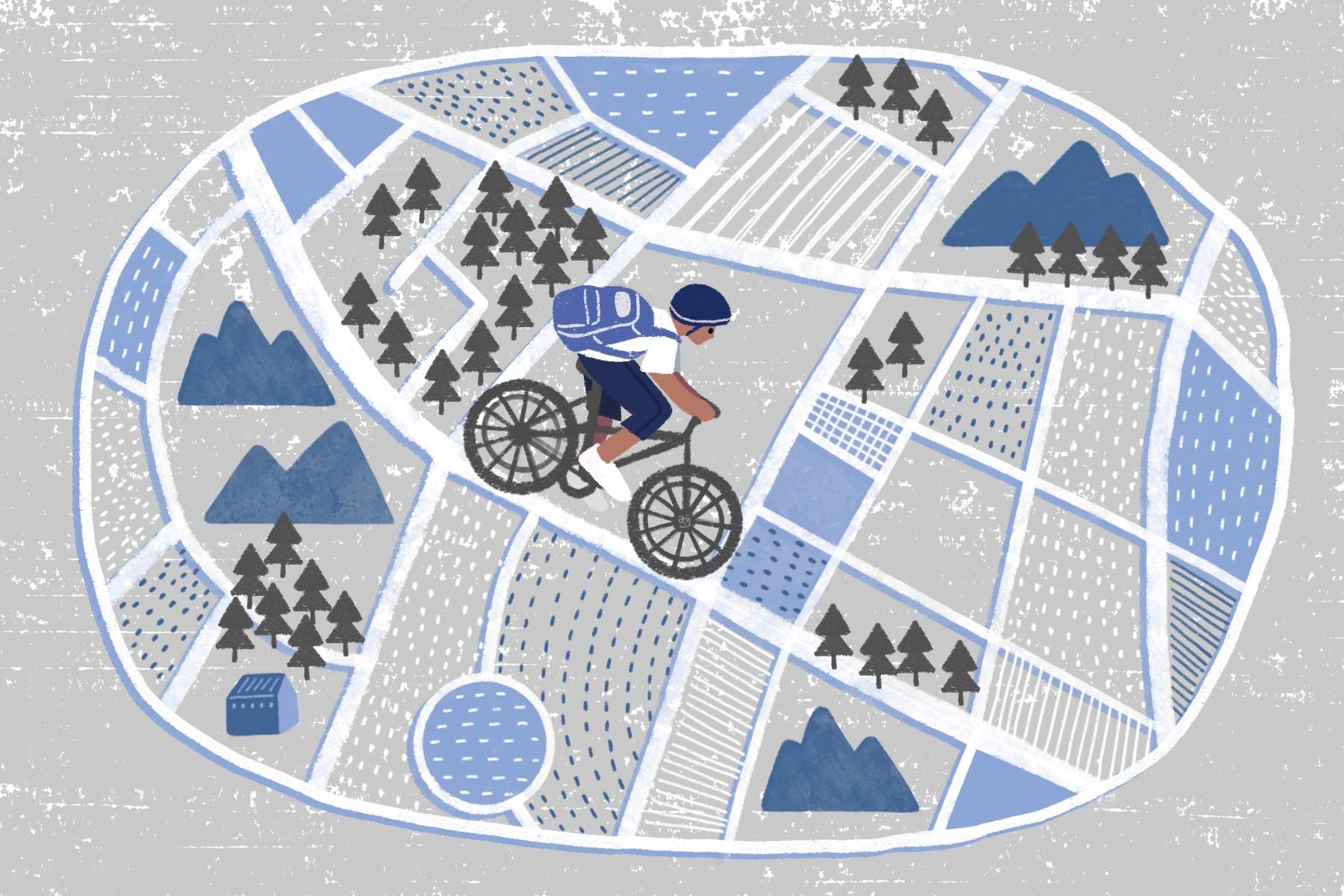 An illustration of a cyclist on the century ride