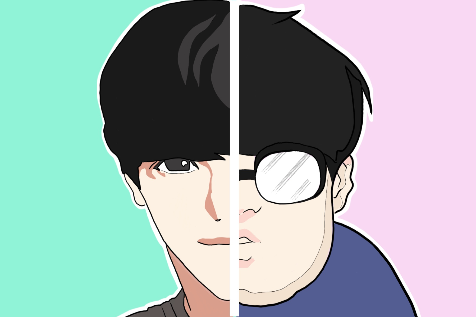 "Discussing the webtoon ""Lookism,"" the image displays a man's face split down the middle: one half beautiful and the other what would be considered ugly in South Korea."