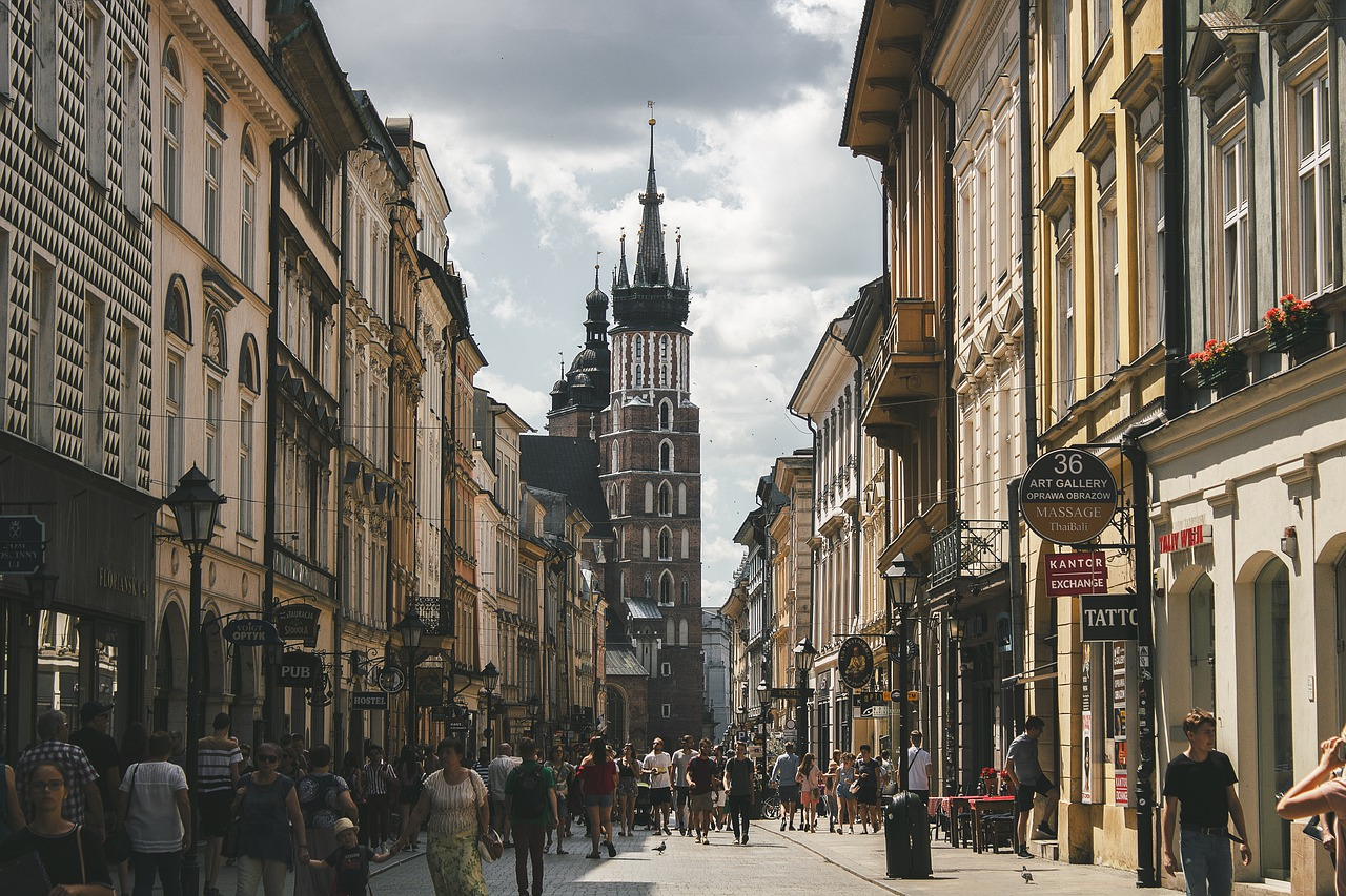 Streets of Krakow in an article about Erasmus students