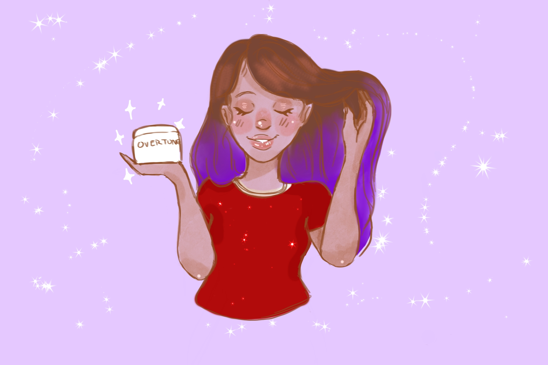 Illustration of woman using Overtone conditioner